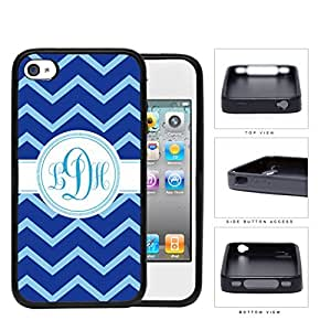 Blue And Light Blue Chevron Monogram (Custom Initials) Rubber Silicone TPU Cell Phone Case Apple iPhone 4 4s