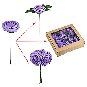 Vlovelife 50pcs Lavender Real Looking Fake Roses Artificial Flowers Roses Head With Stem for DIY Wedding Bouquets Centerpieces Arrangements Birthday Baby Shower Home Party Decorations 3