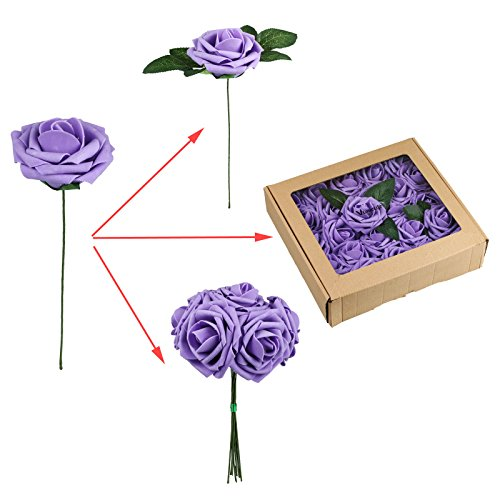 Vlovelife-50pcs-Lavender-Real-Looking-Fake-Roses-Artificial-Flowers-Roses-Head-With-Stem-for-DIY-Wedding-Bouquets-Centerpieces-Arrangements-Birthday-Baby-Shower-Home-Party-Decorations