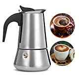 Coffee Maker 9 Cup Stainless Steel with Safety Relief Valve,Stovetop Espresso Maker Moka Pot with Filter, fit Gas, Electric and Ceramic Stovetop