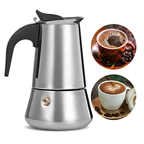 Coffee Maker 9 Cup Stainless Steel with Safety Relief Valve,Stovetop Espresso Maker Moka Pot with Filter, fit Gas, Electric and Ceramic Stovetop - Electric Gas Espresso Maker