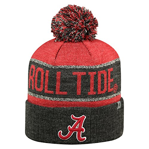Top of the World Alabama Crimson Tide Below Zero Cuffed Pom Knit Beanie Hat/Cap