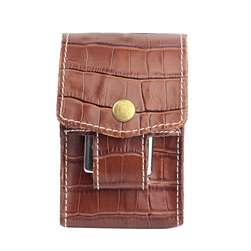 Hestio Crocodile Pattern Leather Cigarette Case Wallet With Lighter Holder Waist Belt (Pattern Cigarette Case)