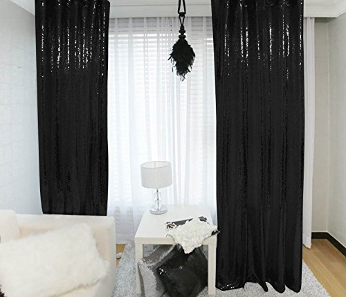 - Sequin Curtains 2 Panels 2FTx8FT Black Glitter Backdrop Black Sequin Photo Backdrop Backdrop Curtains~M1120