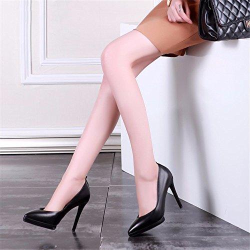 HXVU56546 En El Otoño De Cuero Sintético Nuevo Zapatos De Mujer Zapatos De Tacón De Punta Fina Con Zapatos De Moda Black