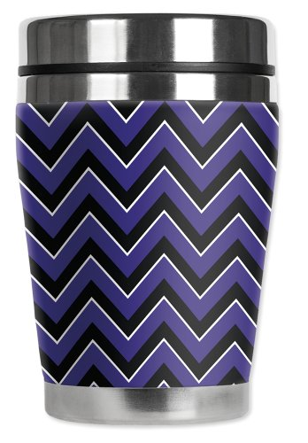 Mugzie brand 10-Ounce Mini Travel Mug with Insulated Wetsuit Cover - Horned Frog Chevron