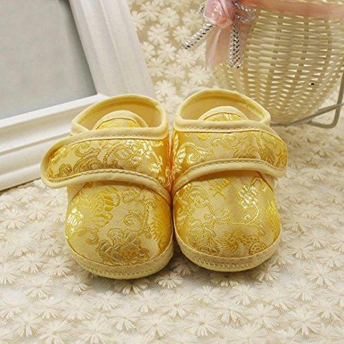 Hunpta Neugeborene Baby Blumendruck Sneaker Anti-Rutsch weiche Sole Kleinkind Schuhe Gelb