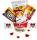 valentines day kids gift baskets - Happy Valentine's Day Movie Night Gift Basket ~ Includes Nachos and Cheese, Popcorn, Candy, Box of Russes Stover Chocolates and 2 Free Redbox Movie Rentals (Chocolately)