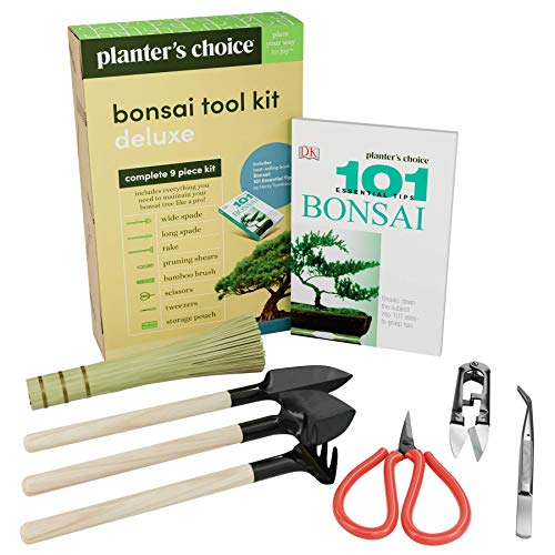 Premium Bonsai Tool Kit + Bonsai 101 Book - Set Includes: Wooden Rake, Long  Wide Spades, Scissors, Tweezers, Bamboo Brush,  Pruning Shears (Trimmer/Clipper) in Fabric Storage Holder - Bonsai Tools reviews