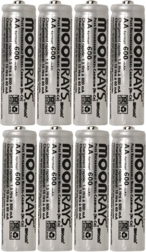 Moonrays 47740SP Rechargeable NiCd AA Batteries for Solar Powered Units, 8-Pack (Aa Nicd Mah Batteries)