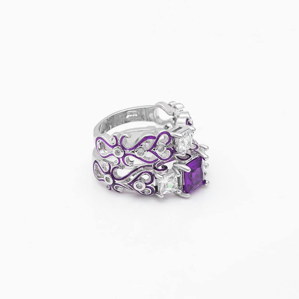 Ginger Lyne Collection Cherri Purple Princess Cut Engagement Wedding Band Bridal Set