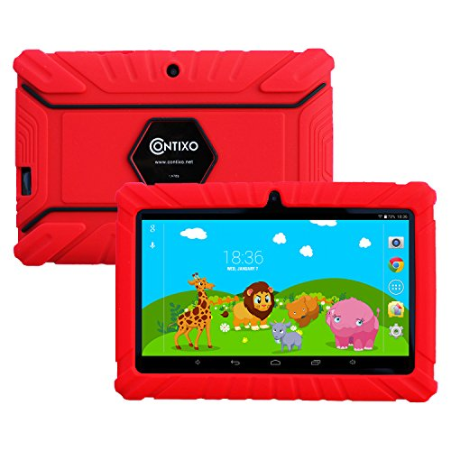 Contixo Kids Safe 7″ Quad-Core Tablet 8GB, Bluetooth, Wi-Fi, 20+ Free Games, HD Edition w/Kids-Place Parental Control, Kid-Proof Case (Red) – Best Gift