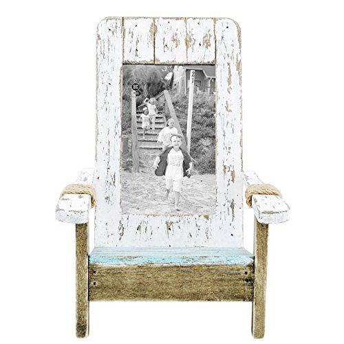 Beachcombers SS-BCS-04672 7.5 x 8.75 x 9.25 inch Wood Weathered Adirondack Chai Picture Frame, White