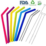 Reusable Silicone Drinking Straws, Extra long Flexible Straws with Cleaning Brushes for 30 oz Tumblers RTIC/Yeti with Pouch, BPA Free, FDA approved