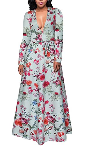 Womens Long Sleeve Floral Print Faux Wrap Maxi Long Dresses with Belt Green XL