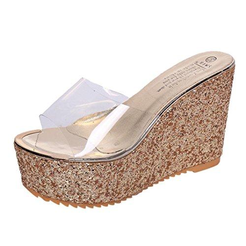 Trasparente Con Zeppa Estivi Ragazze Pantofole Donna Piattaforma LiucheHD Tacco Da Alto Piatti Sandali Sandali Con Elegante Oro Boemo Impermeabile Twaw0