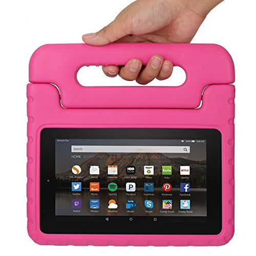 Fire 7 2015 Case, CAM-ULATA Kids Children Shock Proof Handle Light Weight Super Protective Stand Cover 7 Inch Display Tablet 5th Generation 2015 Release EVA Case for Amazon Fire Tablet, Pink (Tablet Covers For Kids compare prices)