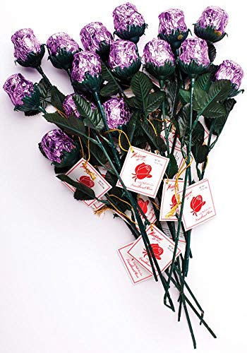 Madelaine Chocolate One Dozen Red Sweetheart Roses - Premium 1/2 OZ Solid Milk Chocolate Roses Wrapped in Italian Foils - Chocolate Flower Bouquet (Lavender, 12 Pack) (Lavender Rose Bouquet)