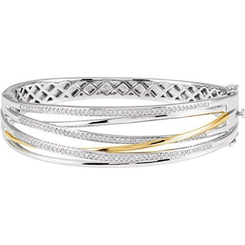 (14k White Gold and Yellow Gold 1 Dwt Polished 8 Inch Two Tone Diamond Bangle Bracelet Bracelet)