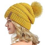 QUEENFUR Women Knit Slouchy Beanie Chunky Baggy Hat with Faux Fur Pompom Winter Soft Warm Ski Cap (Yellow)