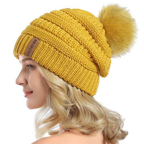 Winnie The Pooh Hat - QUEENFUR Women Knit Slouchy Beanie Chunky