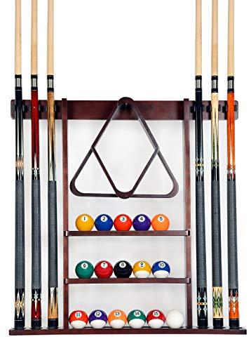 Cue Rack Only - 6 Pool Cue - Billiard Stick Wall Rack Made of Wood Choose Mahogany, Black or Oak Finish (Renewed)