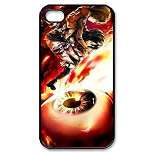 Custom Japanese manga series Attack on titan iPhone 4,4S Hard Plastic Shell Case Cover White&Black(HD image)