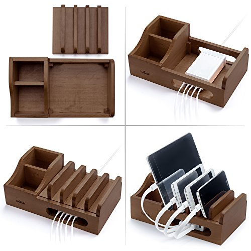 Dark Wood Multi Device Organizer for using with Multiple USB Charging Station like Anker, RAVPower, Poweradd USB chargers for Smartphones and Tablets without charger (Ericsson Sony Case Phone)