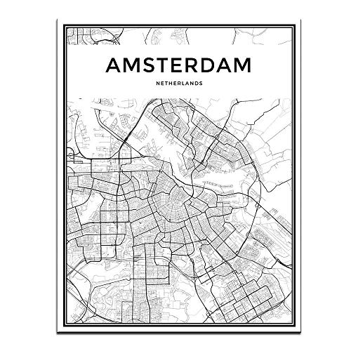 DINGDONGART Framed Canvas Wall Art Amsterdam Linear City Map Painting Nordic Minimalist Style Poster Aerial View Artwork Picture for Living Room Decor 1 Pcs