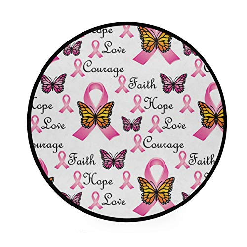 Faith Pink Ribbons Butterfly 36 Inch Round Rug Non-Slip Area Rug Foam Mat Super Soft Carpet Floor Mat Living Room Bedroom ()