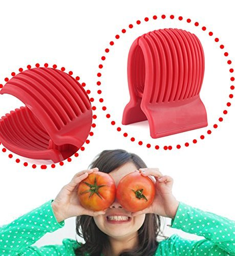 Astra shop Tomato Slicer - Amazingly Accurate Tomato Slicer with Firm Grip System - Safe and Durable ABS Material - Time Saver with Ergonomic Design - Up to 13 Slices - Vibrant Red 5 With this tomato slicer you'll create perfect tomato slices everytime Made of durable plastic Easy to use; simply place tomato in slicer