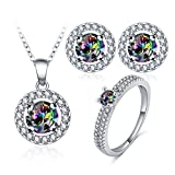 MoAndy Women Fashion Necklace Earrings Ring Jewelry Set with Colorful Cubic Zirconia Size 7