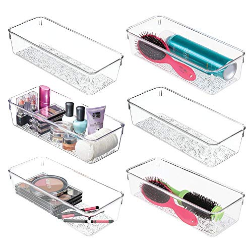 mDesign Plastic Drawer Organizer Storage Tray for Bathroom Vanity, Countertop, Cabinet - Holds Makeup Brushes, Eyeliner, Lip Pencils, Hair Accessories - Textured Base, 5