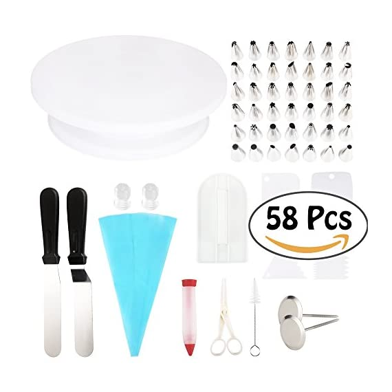 Cake Decorating Supplies 58pcs Kit - 42 Icing Tips, 1 Cake Turntable, 1 Pastry Bag, 2 Couplers, 2 Spatulas, 2 Flower Nails, 1 Flower Lifter, 1 Brush, 1 Cake Pen, 1 Fondant Smoother, 4 Cake Scrapers 1 THE MOST COMPLETE CAKE DECORATING TOOL SET: With 58 professional-quality pieces, this cake decorating supplies kit gives professionals and beginners everything they need to decorate beautiful cakes and cupcakes. ALL THE SUPPLIES YOU NEED FOR CAKE DECORATION: This set comes with 42 stainless steel icing tips for making every decoration, 2 couplers, 1 reusable silicone pastry bag, 1 flower lifter, 2 flower nails and 1 cleaning brush. THE BEST BAKING SUPPLIES FOR PRO DECORATING: The 58 pieces also include 1 cake turntable, 2 icing spatulas, 4 cake scrapers and 1 fondant smoother. From cupcakes to cakes and every other baked good, this decorating set has everything!