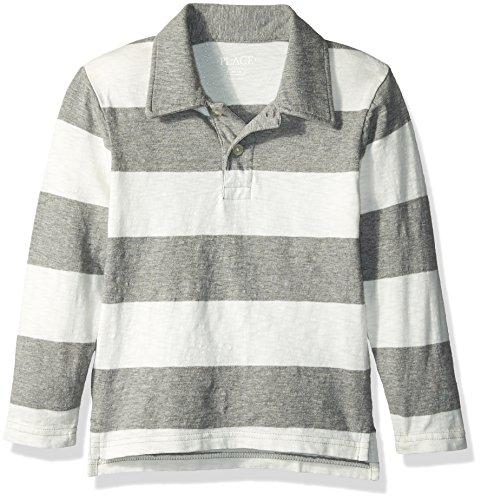 The Childrens Place Big Boys Long Sleeve Rugby Stripe Polo