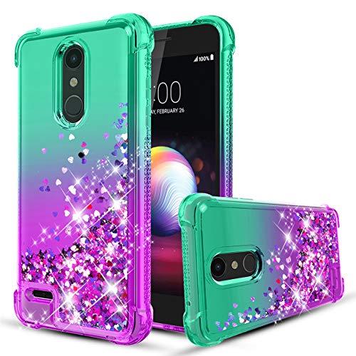 (LG K30 /LG Harmony 2/LG K10 2018/LG Premier Pro LTE/LG Phoenix Plus/LG Xpression Plus Case Flowing Liquid Bling Glitter TPU Bumper Heavy Duty Shockproof Protective Case for Women,Girls, Mint/Purple)