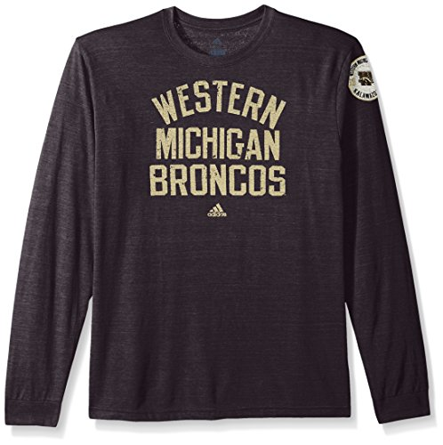 (adidas NCAA Western Michigan Broncos Men's Heritage Tri-Blend Long Sleeve Tee, X-Large, Black Heathered)