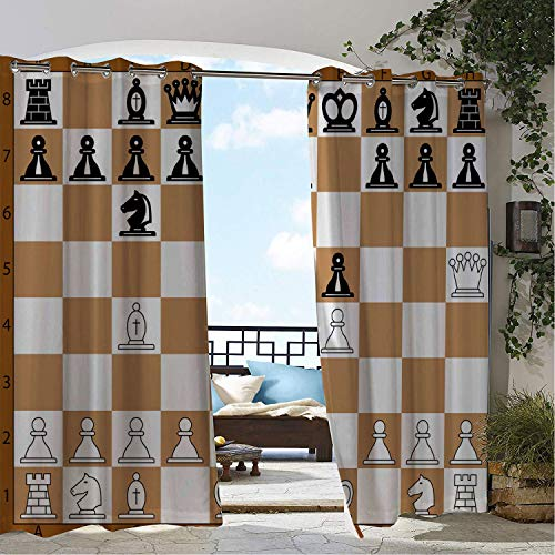 Linhomedecor Patio Waterproof Curtain Board Game Opening Position on Chessboard Letters Numbers Squares s Print Brown Pale Brown Black doorways Grommets Cabana Curtains 96 by 108 inch