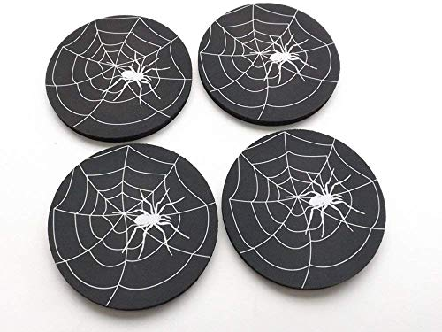 (Spider Web coasters set of 4 or 6 Halloween Home Decor 3.5 inch neoprene goth home decor)
