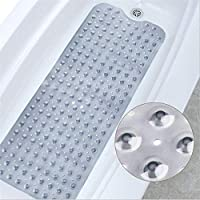 WHOLE MART® Rubber Bath Mat for Bathtub and Shower, Anti Slip, Anti Bacterial, Mold Resistant, 16 x 40 inches (Large Size)