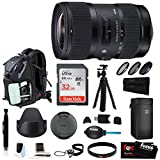 Sigma 18-35mm F1.8 Art DC HSM Lens for CANON DSLR Cameras w/ 32GB SD Card + Holiday Bundle Travel Kit