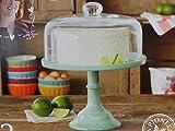 martha stewart cake stand Pioneer Woman Pedestal Cake Plate & Glass Lid Jadeite Color 10 Inch