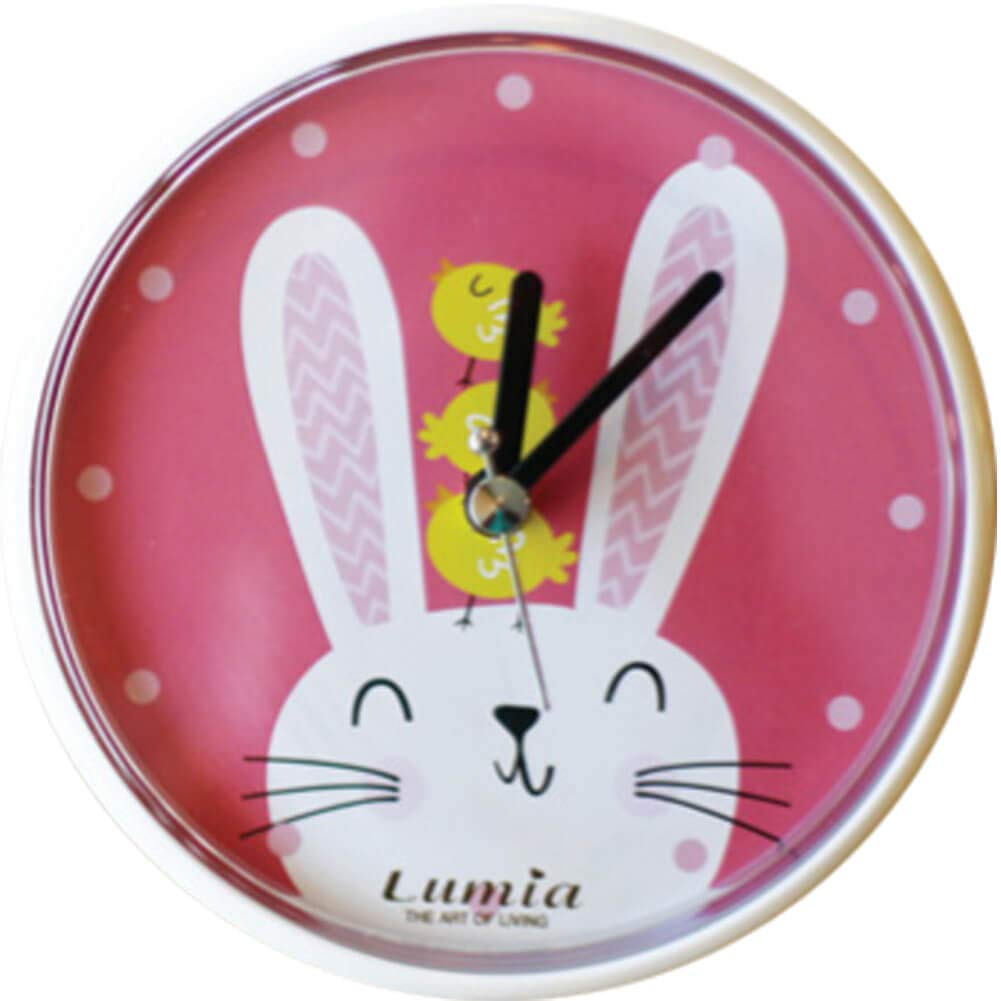 Lumia Waterproof Small Suction Padded Animal Wall Clock for Kitchen, Bathroom, Shower, 4.7 inch (Bunny)