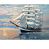 SUBERY Paintworks DIY Oil Painting Paint by Number Kits for Adults Kids Beginner - The Ship is Sailing Smoothly 16x20 inches (Wooden Framed)