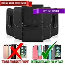 Leather Case for Sony Xperia X10 Mini, TMAN Premium Vertical Pouch Protective Carrying Holster with Belt Clip (Fits with Otterbox, Lifeproof, Waterproof, Battery and Other Armor Case)