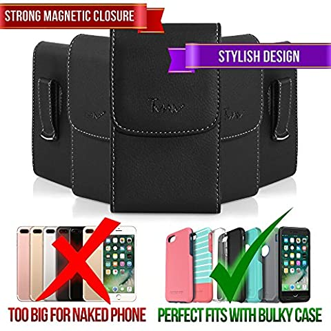 Leather Vertical XLarge Oversize Belt Clip Case Pouch Holster for LG Spectrum Revolution 2 Nitro HD P930 Optimus 4X HD P880 [PERFECT FITS WITH OTTERBOX COMMUTER ON IT (Lg Nitro Hd P930 Otter Box)