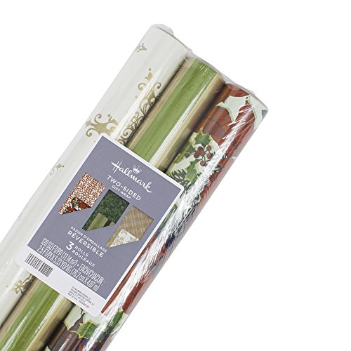(Hallmark Reversible Christmas Wrapping Paper Bundle, Classic (Pack of 3, 120 sq. ft. ttl.))