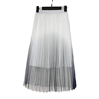 Color Sólido Elegante Falda Maxi Falda De Gasa Falda Larga Ropa de ...