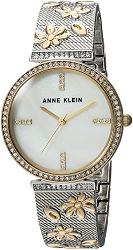 Of Watch Pearl Womans Mother (Anne Klein Women's AK/3147MPTT Swarovski Crystal Accented Two-Tone Textured Bangle Watch)