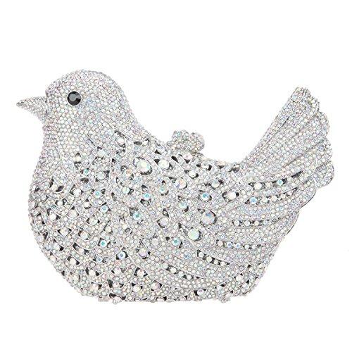 Fawziya Bird Hard Case Clutch Purse Luxury Crystal Evening Clutch Bags-AB Silver ()